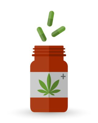 illustration of medicine container with marijuana leaf on label
